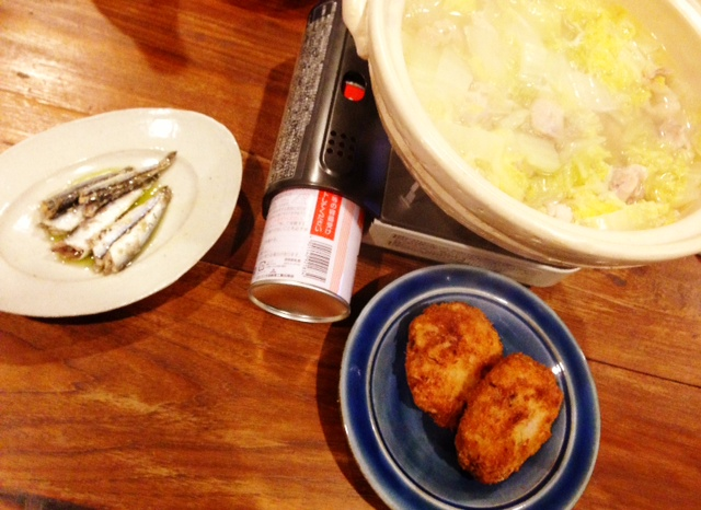 夫が作った晩ご飯:塩麹鳥鍋_d0339885_13083938.jpg