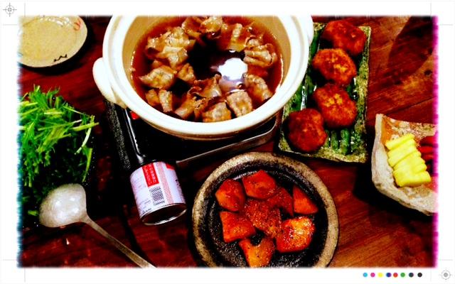 夫が作った晩ご飯:水菜と豚肉の鍋_d0339885_13453375.jpg