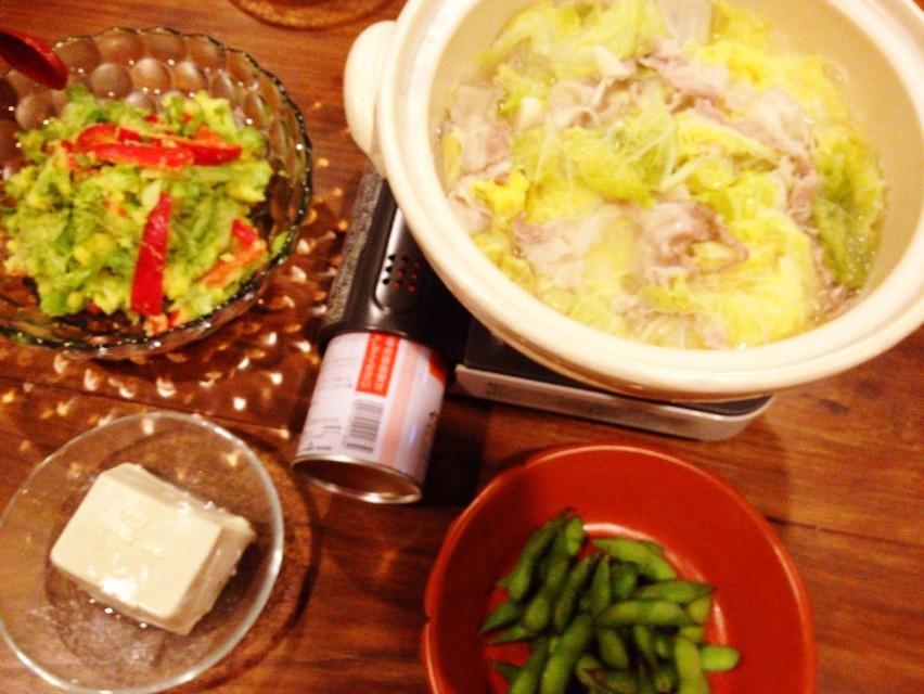 夫が作った晩ご飯:いよいよニンニク鍋の季節_d0339885_13461687.jpg