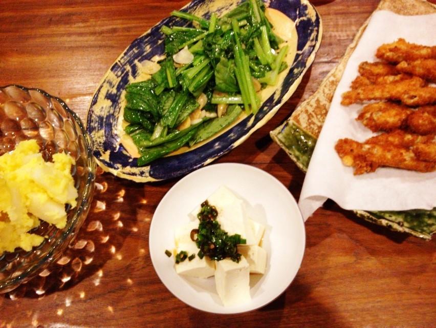 夫が作った晩ご飯:カボチャと梨のサラダ_d0339885_13461805.jpg