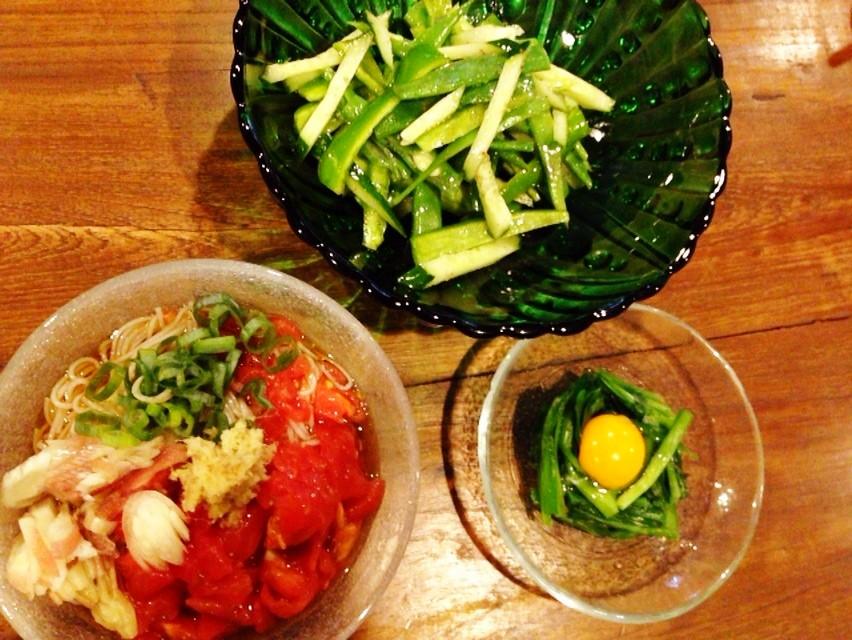 夫の作ったブランチ:夏野菜たっぷり_d0339885_13464527.jpg