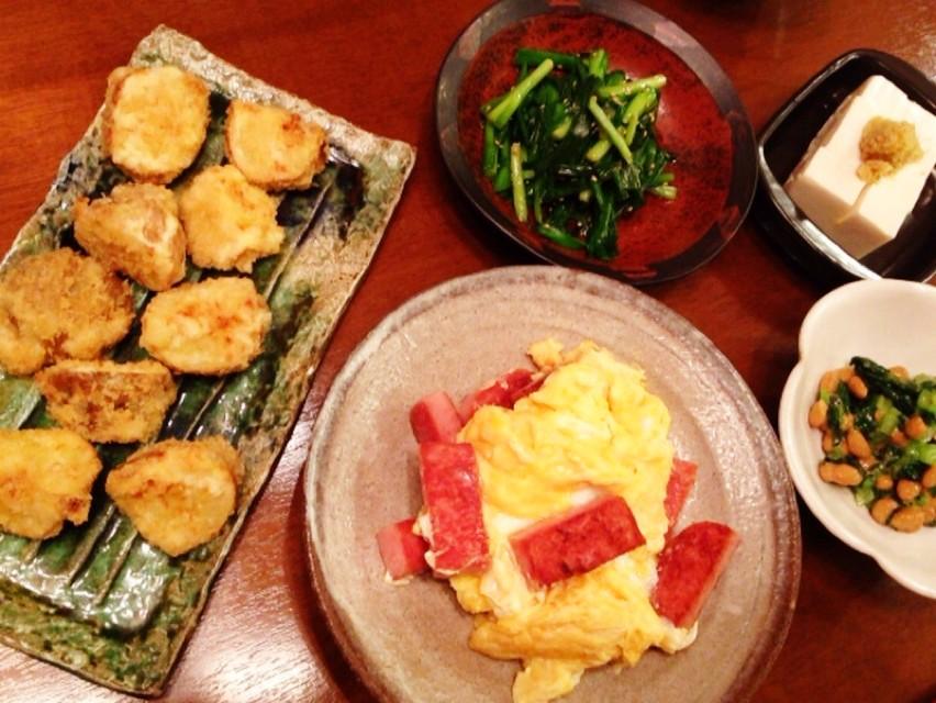 夫の作った晩ご飯:じゃがいものフライ_d0339885_13465980.jpg