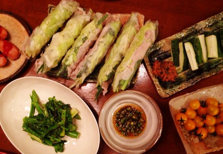 夫の作った晩ご飯:生春巻き_d0339885_13470676.jpg