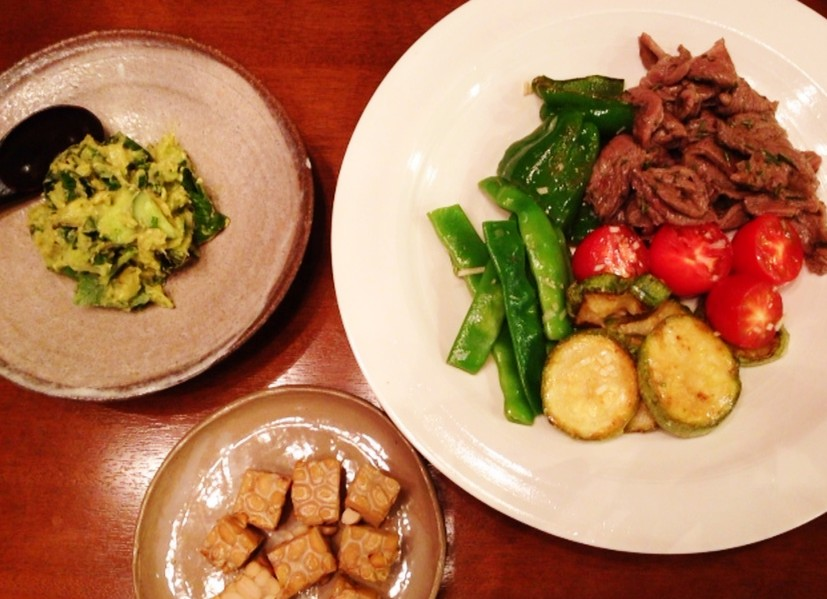 夫の作った晩ご飯:牛肉のマリネ_d0339885_13470758.jpg
