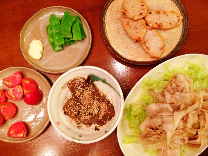 夫の作った晩ご飯:冷しゃぶ_d0339885_13470906.jpg