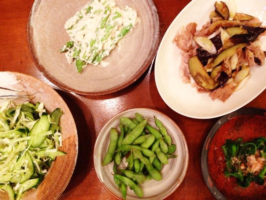 夫の作った晩ご飯:豚肉とナスとネギのショウガ焼き_d0339885_13473059.jpg