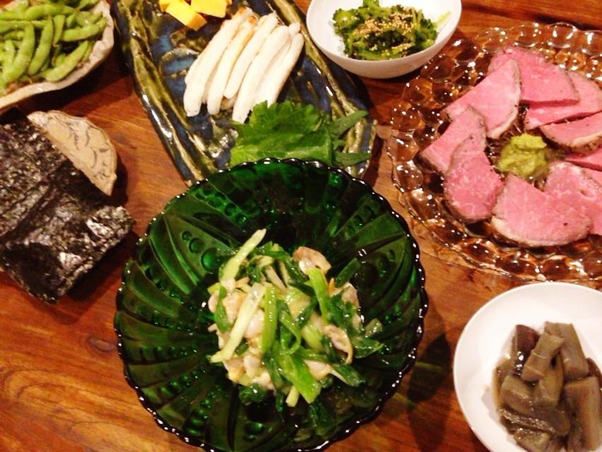 夫の作った晩ご飯:アサリとワケギのぬた和え_d0339885_13473833.jpg