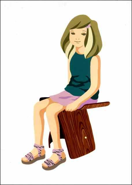 柳宗理バタフライスツールに座る女の子_d0339885_13491703.jpg