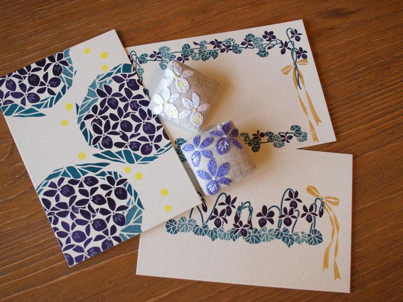 Maduさんの菫ブローチとポストカード_d0051613_23284637.jpg