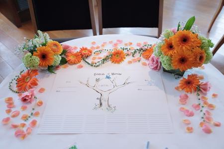 春の装花 ブラッスリーポールボキューズ様へ オレンジのガーベラとかすみそう_a0042928_1529178.jpg