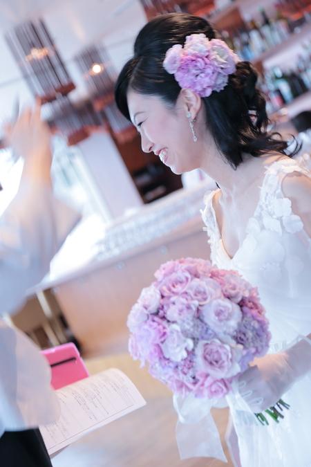 春の装花 ブラッスリーポールボキューズ様へ オレンジのガーベラとかすみそう_a0042928_15293734.jpg