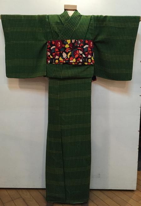 「今昔きもの市」緑クロス・白花・ボーダー着物♪販売商品16_c0321302_01011099.jpg