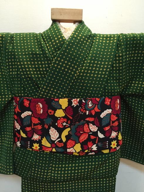 「今昔きもの市」緑クロス・白花・ボーダー着物♪販売商品16_c0321302_01011972.jpg