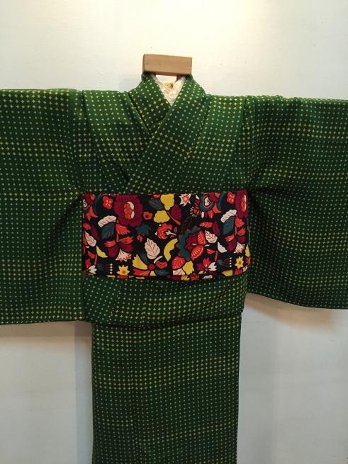 「今昔きもの市」緑クロス・白花・ボーダー着物♪販売商品16_c0321302_01012825.jpg