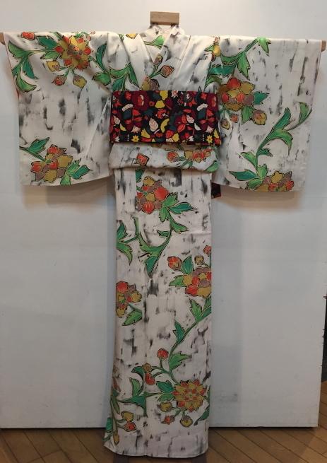「今昔きもの市」緑クロス・白花・ボーダー着物♪販売商品16_c0321302_01022222.jpg