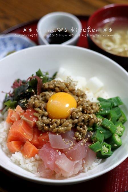 ホタテのバター醤油 ✿ 海鮮ネバネバ丼♪_c0139375_1121096.jpg