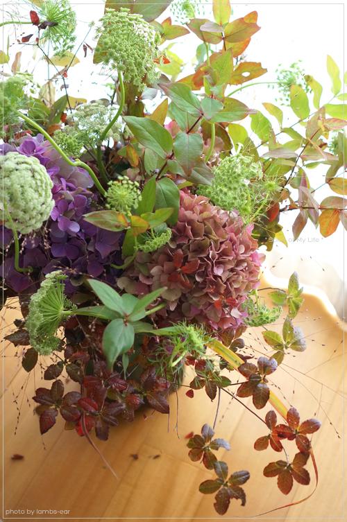 Bouquet champêtre d\'hortensia et de graminée_f0151946_1173344.jpg