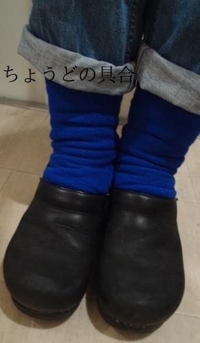 青い靴下で冷え取りファッション15 10/25_c0342582_18064364.jpg