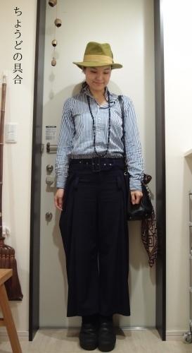 夫のシャツで冷え取りファッション15 10/30_c0342582_23062608.jpg