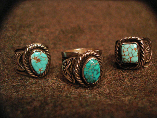 """NEW : [Navajo Turquoise Jewelry] """"NUNMER 8"""" & """"LONE MOUNTAIN"""" SILVER RING !!_a0132147_1938229.jpg"""