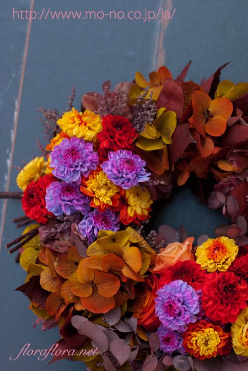 魅惑のバイカラーの花達で四季のリースを綴る 秋のリース 花時間プ*リ*ザvol.9掲載_a0115684_15462562.jpg