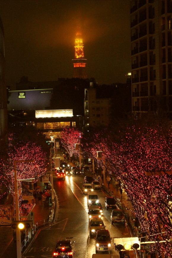雨の東京タワーとけやき坂のイルミネーション_b0190710_23375922.jpg