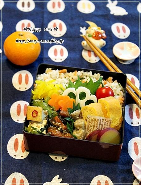 鮭フレーク大葉の混ぜご飯でおばんざい弁当と角食パン♪_f0348032_18052472.jpg
