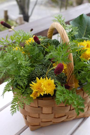 野菜畑のブーケをバスケットに_c0334574_17232246.jpg