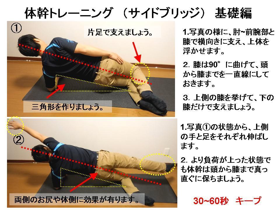 体幹トレーニングの効果的な方法 No7「サイドブリッジ基礎」_c0362789_23305725.jpg