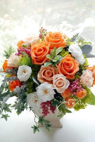 オレンジローズのアレンジ!エレガントに_a0136507_20313582.jpg