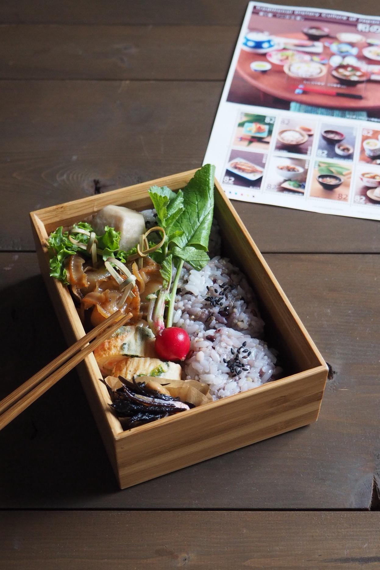 ベビーホタテの生姜煮弁当と和の食文化記念切手_c0270834_830588.jpg