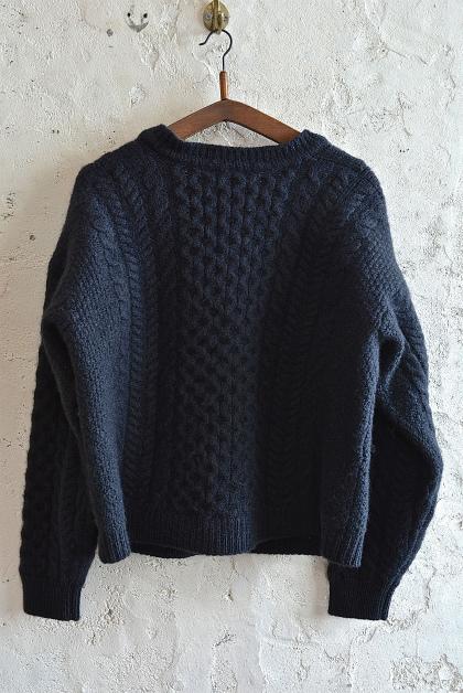 Aran knit cardigan over-dyed charcoal gray & black_f0226051_13320533.jpg