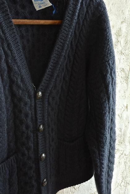 Aran knit cardigan over-dyed charcoal gray & black_f0226051_13320863.jpg