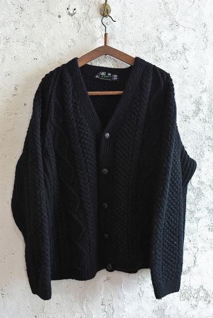 Aran knit cardigan over-dyed charcoal gray & black_f0226051_13345804.jpg