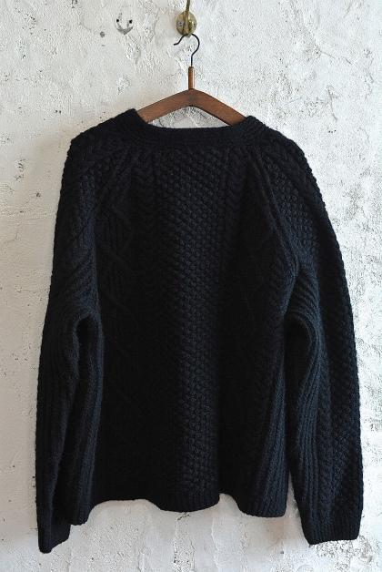 Aran knit cardigan over-dyed charcoal gray & black_f0226051_13350087.jpg