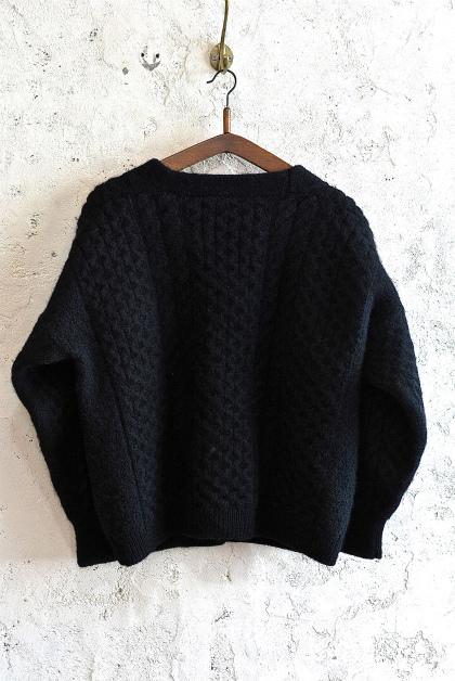 Aran knit cardigan over-dyed charcoal gray & black_f0226051_13381398.jpg