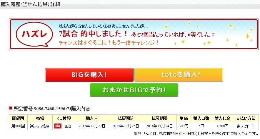 ビッグの当選結果、その500円が運命を分けた?_d0061678_20311198.jpg
