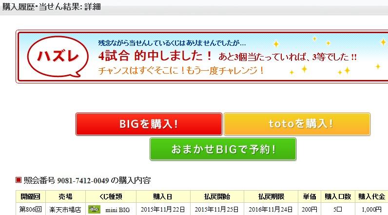 ビッグの当選結果、その500円が運命を分けた?_d0061678_20364357.jpg
