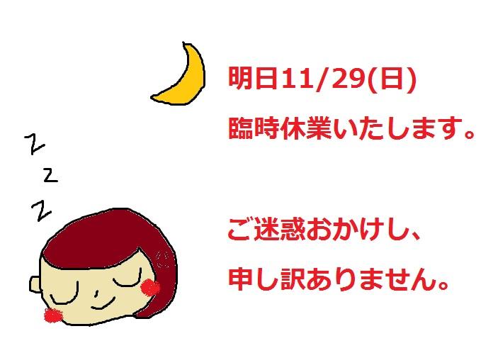 11/29(日)臨時休業いたします。_b0016474_12374291.jpg