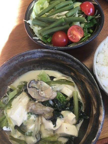 牡蠣とほうれん草と豆腐のグラタン風_d0339891_16490384.jpg