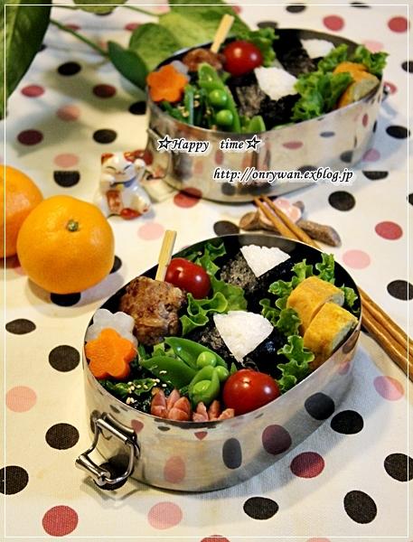 おむすびとミニハンバーグ弁当♪_f0348032_18100040.jpg