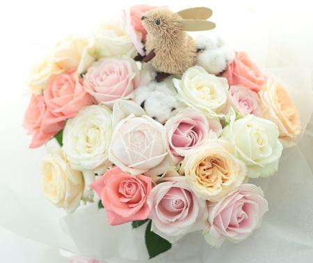 ご両親への贈呈プレゼントの花 八芳園様へ 千趣会ベルメゾンでもウサギの花束売ってます_a0042928_1046560.jpg