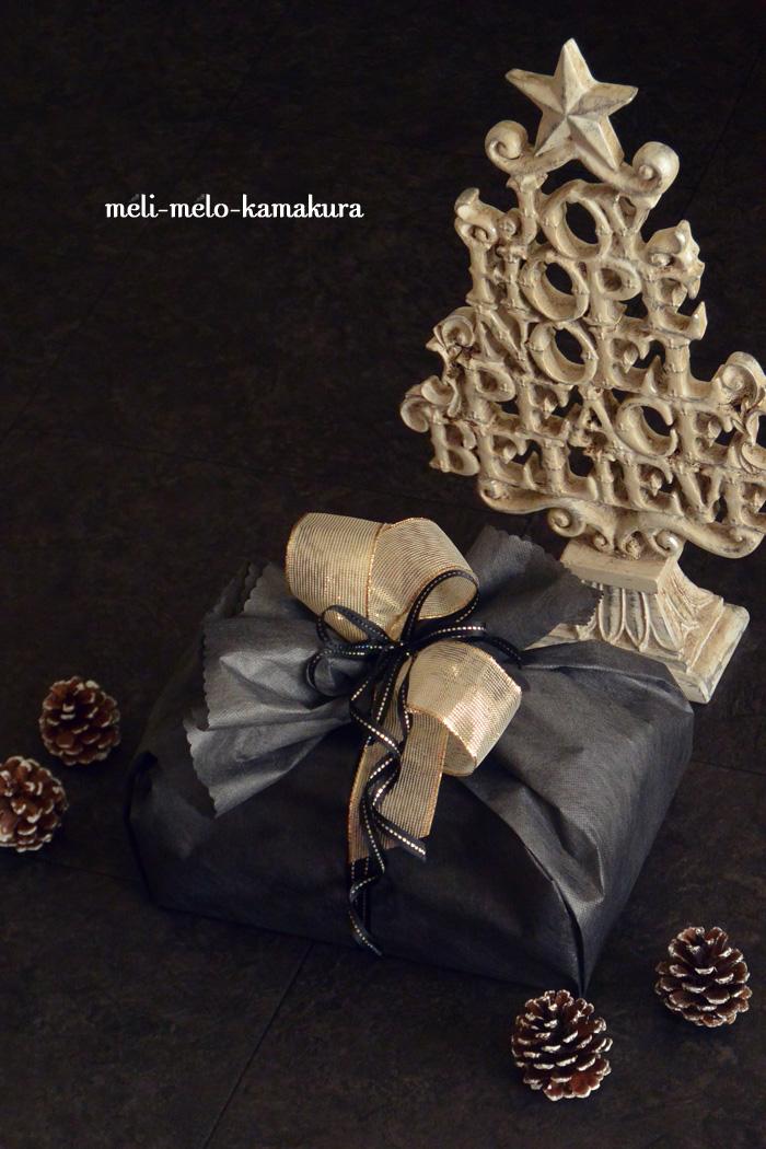 ◆ラッピング*ブラック×ゴールドのクリスマスプレゼント_f0251032_14174429.jpg