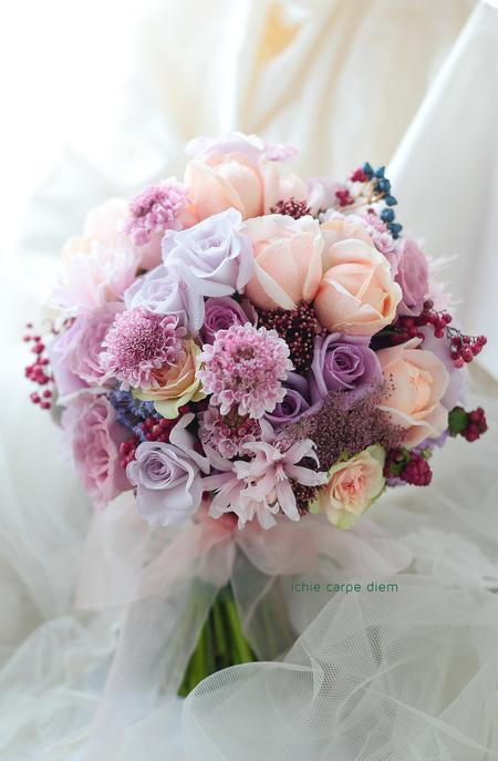 クラッチブーケ リストランテASOの花嫁さまへ バラと実り_a0042928_1038361.jpg