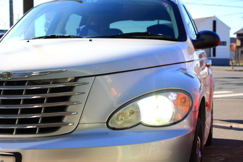 PTクルーザーへLEDヘッドライト装着_f0105425_1931293.jpg