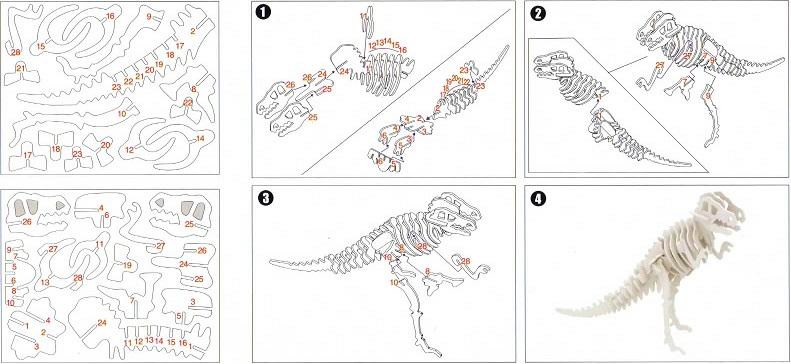 木製3D模型 ティラノサウルス(ダイソー/100円)_f0205396_1923726.jpg