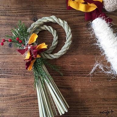 お正月100円セリアのリメイクで布耳アレンジのしめ縄飾り♪_f0023333_14415727.jpg