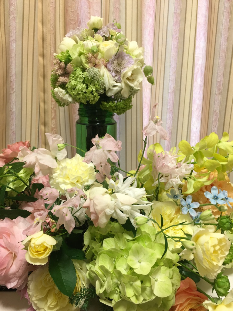 新郎新婦様からのメール HANZOYAの花嫁様より 挙式装花、色褪せぬ愛のシェアブーケ_a0042928_2182444.jpg