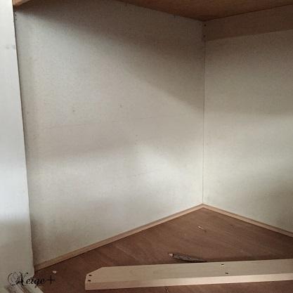 DIYでセルフリノベーション中の押入れ改造1 棚移動&壁紙貼り途中経過_f0023333_20423308.jpg