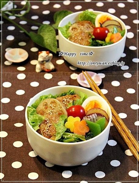 菜飯で蓮根つくねの照焼き丼風弁当♪_f0348032_17325767.jpg